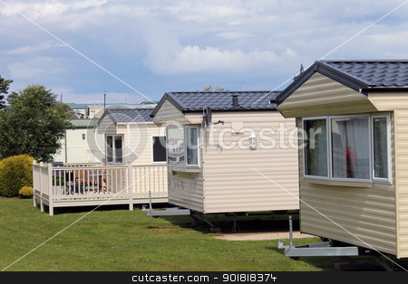 Caravan park stock photo, Mobile caravans or trailers in modern holiday park.  by Martin Crowdy