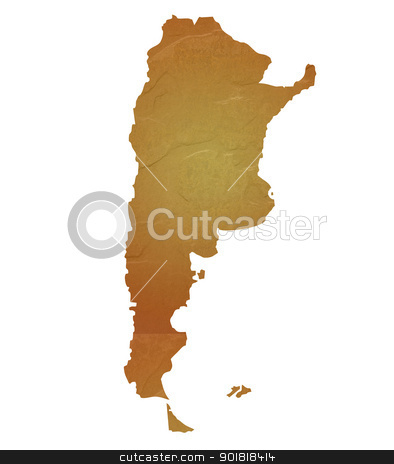 Textured map of Argentina stock photo, Textured map of Argentina map with brown rock or stone texture, isolated on white background with clipping path. by Martin Crowdy
