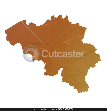 Textured map of Belgium stock photo, Textured map of Belgium map with brown rock or stone texture, isolated on white background with clipping path. by Martin Crowdy