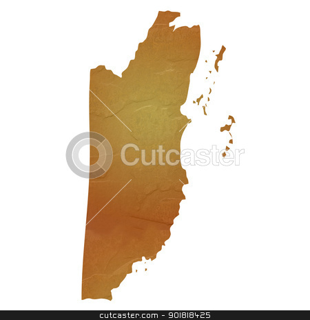 Textured map of Belize stock photo, Textured map of Belize map with brown rock or stone texture, isolated on white background with clipping path. by Martin Crowdy