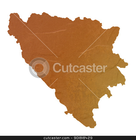 Textured map of Bosnia and Herzegovina stock photo, Textured map of Bosnia and Herzegovina map with brown rock or stone texture, isolated on white background with clipping path. by Martin Crowdy