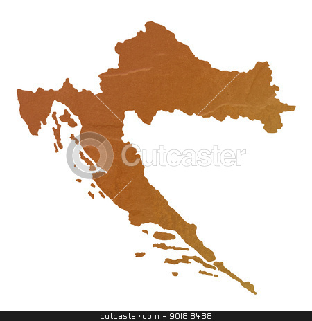 Textured map of Croatia stock photo, Textured map of Croatia map with brown rock or stone texture, isolated on white background with clipping path. by Martin Crowdy