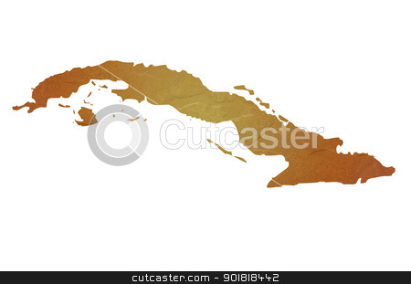 Textured map of Cuba stock photo, Textured map of Cuba map with brown rock or stone texture, isolated on white background with clipping path. by Martin Crowdy