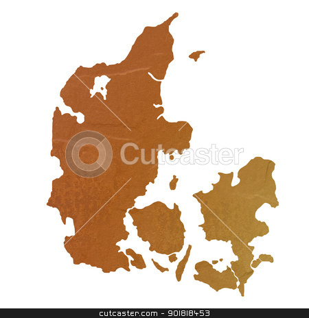 Textured map of Denmark stock photo, Textured map of Denmark map with brown rock or stone texture, isolated on white background with clipping path. by Martin Crowdy