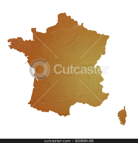 Textured map of France stock photo, Textured map of France map with brown rock or stone texture, isolated on white background with clipping path. by Martin Crowdy