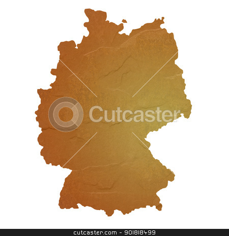 Textured map of Germany stock photo, Textured map of Germany map with brown rock or stone texture, isolated on white background with clipping path. by Martin Crowdy
