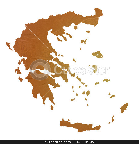 Textured map of Greece stock photo, Textured map of Greece map with brown rock or stone texture, isolated on white background with clipping path. by Martin Crowdy