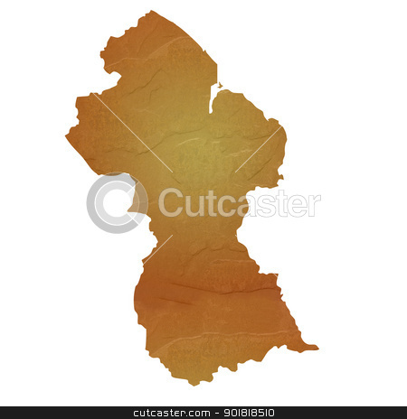 Textured map of Guyana stock photo, Textured map of Guyana map with brown rock or stone texture, isolated on white background with clipping path. by Martin Crowdy