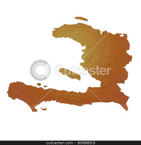 Textured map of Haiti stock photo, Textured map of Haiti map with brown rock or stone texture, isolated on white background with clipping path. by Martin Crowdy