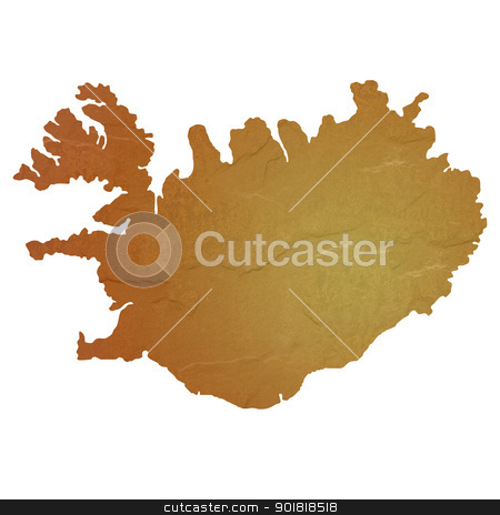 Textured map of Iceland stock photo, Textured map of Iceland map with brown rock or stone texture, isolated on white background with clipping path. by Martin Crowdy