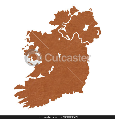 Textured map of Ireland stock photo, Ireland map with brown rock or stone texture, isolated on white background with clipping path. by Martin Crowdy