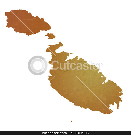 Textured map of Malta stock photo, Textured map of Malta map with brown rock or stone texture, isolated on white background with clipping path. by Martin Crowdy