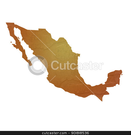 Textured map of Mexico stock photo, Textured map of Mexico map with brown rock or stone texture, isolated on white background with clipping path. by Martin Crowdy