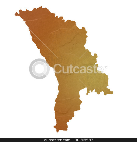 Textured map of Moldova stock photo, Textured map of Moldova map with brown rock or stone texture, isolated on white background with clipping path. by Martin Crowdy