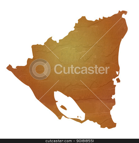 Textured map of Nicaragua stock photo, Textured map of Nicaragua map with brown rock or stone texture, isolated on white background with clipping path. by Martin Crowdy