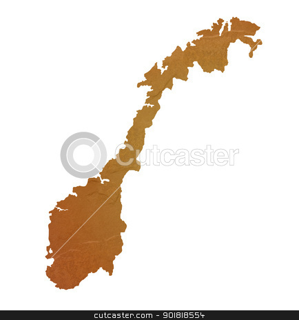 Textured map of Norway stock photo, Textured map of Norway map with brown rock or stone texture, isolated on white background with clipping path. by Martin Crowdy