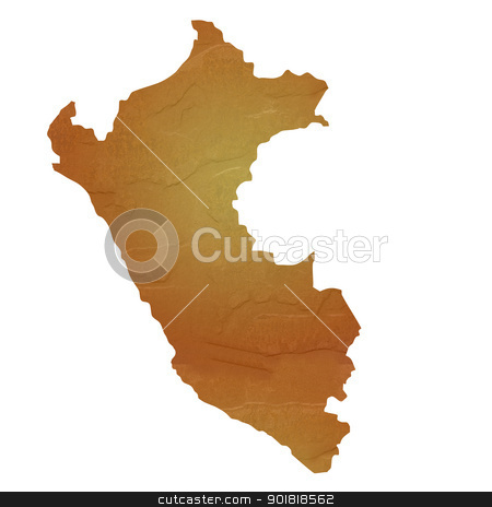 Textured map of Peru stock photo, Textured map of Peru map with brown rock or stone texture, isolated on white background with clipping path. by Martin Crowdy