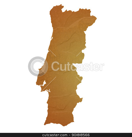 Textured map of Portugal stock photo, Textured map of Portugal map with brown rock or stone texture, isolated on white background with clipping path. by Martin Crowdy