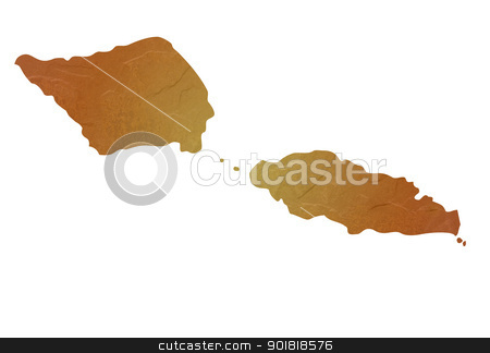 Textured map of Samoa stock photo, Samoa map with brown rock or stone texture, isolated on white background with clipping path. by Martin Crowdy