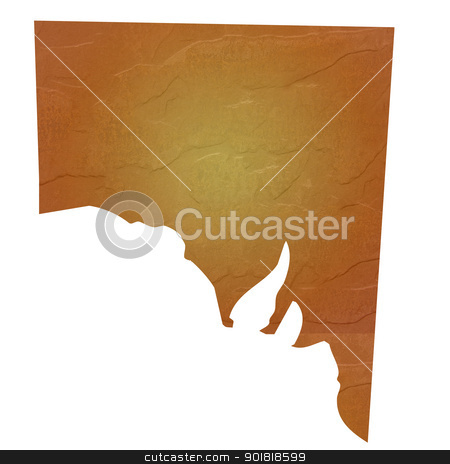 Textured map of Southern Australia stock photo, Southern Australia map with brown rock or stone texture, isolated on white background with clipping path. by Martin Crowdy