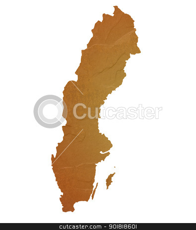 Textured map of Sweden stock photo, Textured map of Sweden map with brown rock or stone texture, isolated on white background with clipping path. by Martin Crowdy