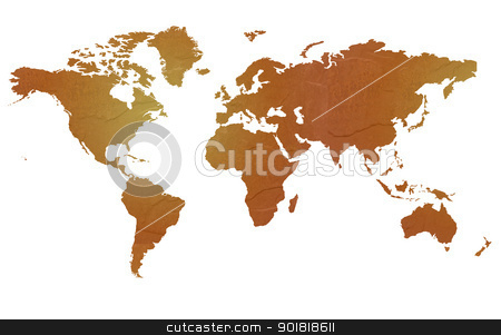 Textured map of the world stock photo, Textured map of the world globe map with brown rock or stone texture, isolated on white background with clipping path. by Martin Crowdy