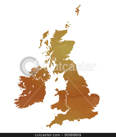 Textured map of United Kingdom stock photo, United Kingdom map with brown rock or stone texture, isolated on white background with clipping path. by Martin Crowdy