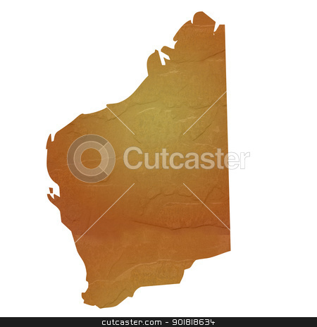 Textured map of Western Australia stock photo, Western Australia map with brown rock or stone texture, isolated on white background with clipping path. by Martin Crowdy