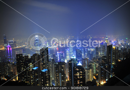 Hong Kong by night stock photo, Hong Kong by night from Victoria Peak by Worldphotos