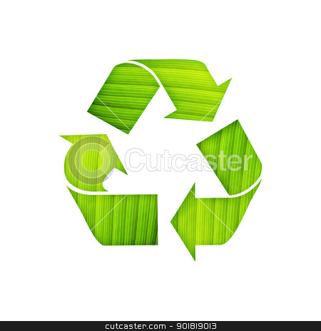 recycle symbol with leaf detail on isolated background stock photo, recycle symbol with leaf detail on isolated background by jakgree