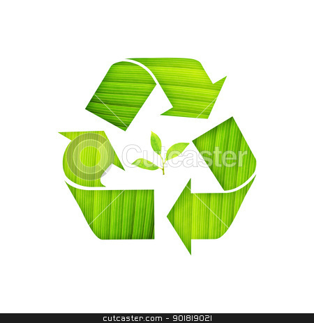 recycle symbol with leaf detail and green Leaf Inside on isolate stock photo, recycle symbol with leaf detail and green Leaf Inside on isolated background by jakgree
