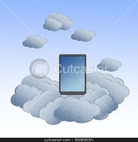 Recycle paper ,Cloud computing concept with Tablet in the clouds stock photo, Recycle paper ,Cloud computing concept with Tablet in the clouds. by jakgree