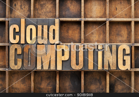 cloud computing  stock photo, cloud computing - text in vintage letterpress wood type against a grunge metal sheet by Marek Uliasz