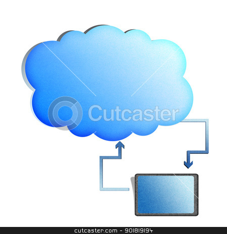 Recycle paper Cloud computing concept,Tablet synchronize with cl stock photo, Recycle paper Cloud computing concept,Tablet synchronize with cloud by jakgree