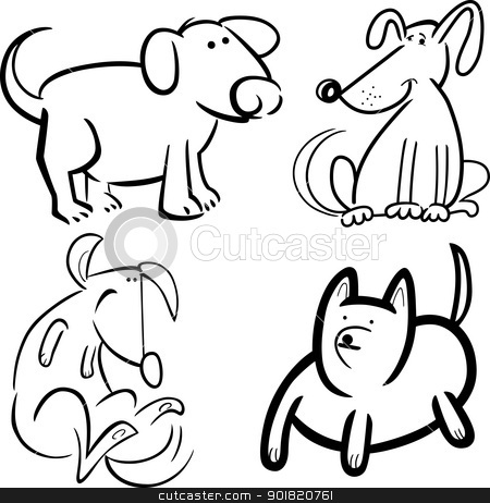 dogs or puppies for coloring stock vector clipart, cartoon illustration of four cute dogs or puppies set for coloring book by Igor Zakowski