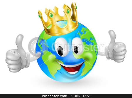 King of the World Mascot stock vector clipart, Illustration of a cute happy king of the world mascot man smiling and giving a thumbs up by Christos Georghiou