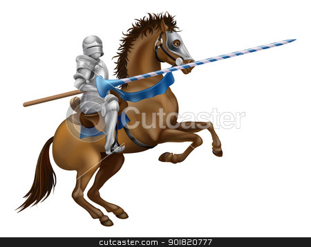 Jousting knight  stock vector clipart, Drawing of a jousting knight in armour on horse back. by Christos Georghiou