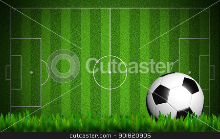 football in green grass on white background stock photo, football in green grass on white background by jakgree