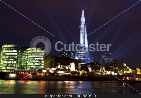 Shard Laser Light Show in London stock photo, To commemorate the opening of The Shard (western Europe's tallest building), a laser light show was held on 4th July 2012. by Chris Dorney