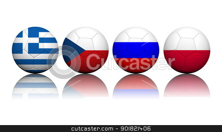 3D Rendering Soccer balls with flag pattern, European Soccer Cha stock photo, 3D Rendering Soccer balls with flag pattern, European Soccer Championship Group A by jakgree