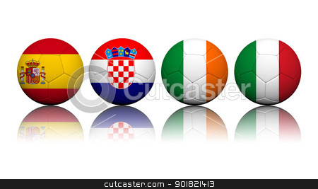 3D Rendering Soccer balls with flag pattern, European Soccer Cha stock photo, 3D Rendering Soccer balls with flag pattern, European Soccer Championship Group C by jakgree