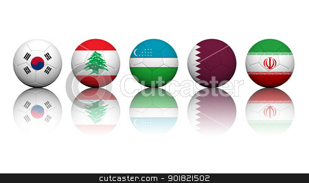 3D Rendering Soccer balls with flag pattern, Asian Soccer Qualif stock photo, 3D Rendering Soccer balls with flag pattern, Asian Soccer Qualifiers Group A by jakgree