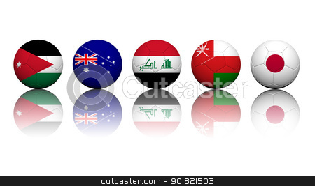 3D Rendering Soccer balls with flag pattern, Asian Soccer Qualif stock photo, 3D Rendering Soccer balls with flag pattern, Asian Soccer Qualifiers Group B by jakgree