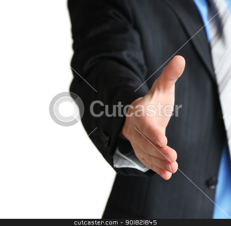 A business man with an open hand in a welcome gesture stock photo, Young business man giving hand for handshake by Viktor Thaut