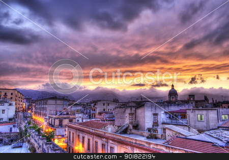 Palermo view at sunset in hdr.Sicily stock photo, Palermo view at sunset in hdr.Sicily by Gandolfo Cannatella
