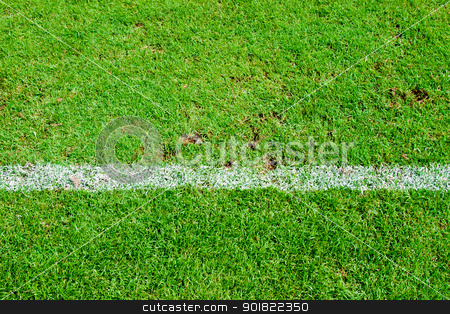White stripe on the green soccer field from top view stock photo, White stripe on the green soccer field from top view by jakgree