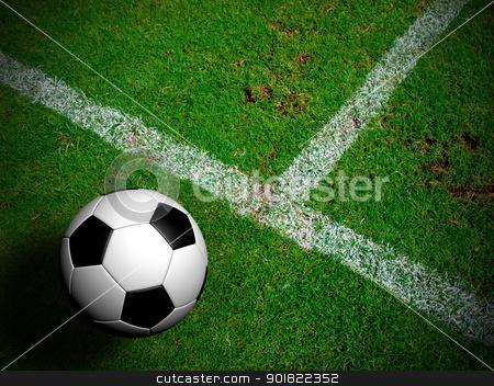 Football ( soccer ball ) in green grass field. stock photo, Football ( soccer ball ) in green grass field. by jakgree
