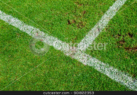 White stripe on the green soccer field stock photo, White stripe on the green soccer field by jakgree