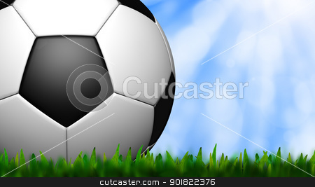 football in green grass over a sky stock photo, football in green grass over a sky by jakgree