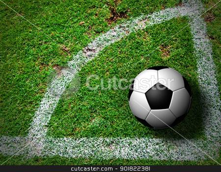 Soccer Ball on Corner Kick from top view stock photo, Soccer Ball on Corner Kick from top view by jakgree